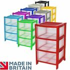 3 Drawer Plastic Large Tower Storage Drawers Chest Unit with Wheels MADE IN U.K
