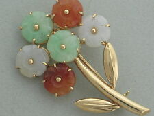 MASON KAY 2014 - 14K YELLOW GOLD GREEN WHITE & RED JADEITE JADE FLOWER BROOCH