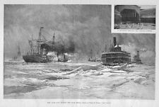 NEW YORK BAY DURING THE COLD SPELL FERRY SLIP TUGBOATS ICE BREAKER SHIPS HISTORY