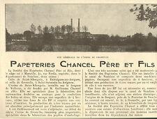 84 SAINT-ALBERGATY GROMELLE PUBLI-REPORTAGE PAPETERIES CHANCEL 1926