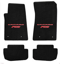 NEW black floor mats 2010-2015 Camaro Embroidered Logo RS in Red double logo 4pc