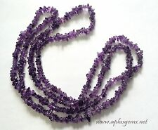 "34"" Amethyst Chip Necklace , 5-8mm purple beads"