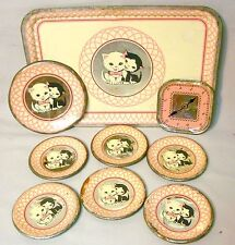 "ANTIQUE TIN LITHO TOY ""KITTENS"" TEA SET TRAY, PLATES & RARE CLOCK FACE, PINK"
