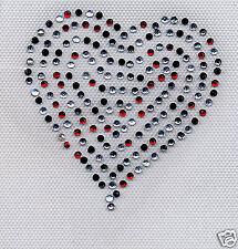 Coeur strass multicolores couleur noir rouge gris  cristal 8x8 hotfix