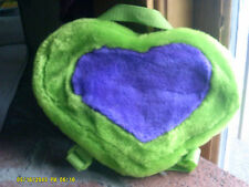 Green Plush Heart Shaped Child Coin Purse Backpack Purple Heart 10x6 (tm)