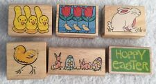 Wood Mount Rubber Stamps LOT of 6 CMC Assorted NEW Easter Flowers Bunny Chicks