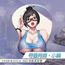 Hot Anime Overwatch Mei 3D Breast Silicone Soft Mouse pad Play Mat  Wrist Rest