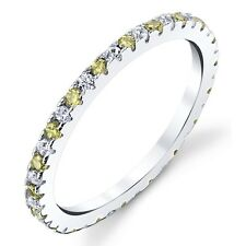 NEW! 925 Sterling Silver Cubic Zirconia 2 Tone  Stackable CZ Wedding Bands Rings