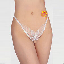 "Women White Butterfly Crotch-less G String Thong Underwear(w 24-34"",S,M,L)2036"