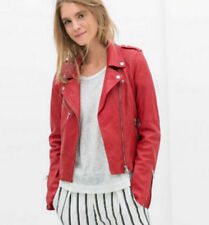 ZJ womens girls bomber motorcycle red Leather moto biker zipper jacket coat