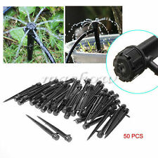 50Pcs Adjustable Water Flow Irrigation Drippers on Stake Emitter Drip System New