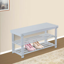 Wooden Shoe Bench Storage Seat 2 Shelves Rack Organizer Entryway Furniture White
