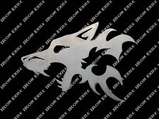 Wolf Head Tribal Silhouette Metal Art Wall Sign Hunting Cabin Lodge Decor Gift