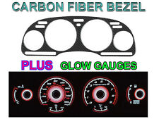 REAL CARBON FIBER BEZEL+RED GLOW GAUGE FACE OVERLAY FOR 92-96 NISSAN 300ZX TURBO