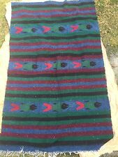 "Southwestern Style Green Blue Red Black Burgundy Area Rug with Fish 48"" x 80"""