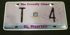 ST MAARTEN LICENSE PLATE ~ ~ THE FRIENDLY ISLAND ~ RARE LOW # T4