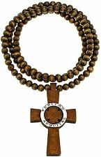Veritas Aequitas Truth & Justice New Wood Pendant Beaded Necklace 36 Inches