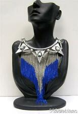 STATEMENT FAUX CRYSTAL MULTI CHAIN DRAPE FRINGE BIB FRONT NECKLACE SILVER BLUE
