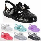 Ladies Jelly Shoes Festival Strappy Diamante Bow Gladiator Sandals All Sizes New