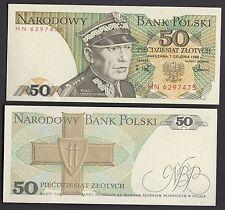 POLAND BANKNOTE BANCONOTA Fior di Stampa POLONIA 5O ZLOTYCH 1988 SWIERCZEWSKI