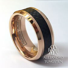 Tungsten Ring Men's 8MM Rose Gold Black Inlay Wedding Band Size 10