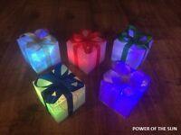 5 Colour Changing LED Parcels Christmas Light Up Presents/Parcels/Decoration