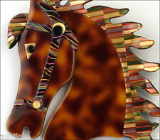 LEA STEIN FIGURAL CHOCOLATE HORSE MOSAIC MANE HEAD GALOPIN BROOCH PIN PARIS