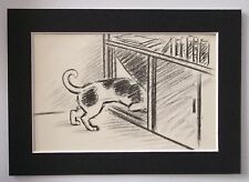 Dog Print Clare Newberry Blk White Mutt Out The Doggy Door Bookplate 1961 Matted