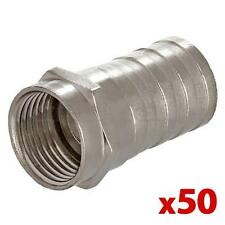 50pcs RG6 Universal F Type Crimp On Connector for TV Coax Cable