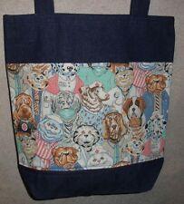 NEW Handmade Large Funny Vet Nurse Dr Dog Cat Medical Scrubs Denim Tote Bag