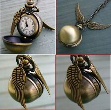 Harry Potter Snitch Watch Pendant Necklace Steampunk Quidditch Wings Clock ca1
