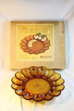 Vintage Deviled Egg Serving Plate Platter Indiana Amber Glass Beaded Mid Century