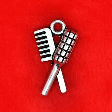 6 x Tibetan Silver Barber Styling Brush & Comb Charm Pendant Jewellery Making