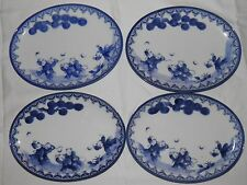 """Set of 4 Antique Chinese Hand Painted Oval Dishes Blue and White Signed 7.5"""""""