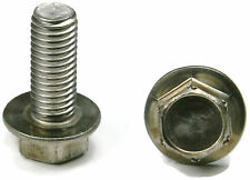 Stainless Steel Hex Cap Flange Bolt FT Metric M6 x 1.0 x 12M, Qty 10