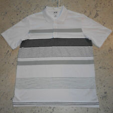 ADIDAS PureMotion GOLF POLO SHIRT~Large~Short Sleeved, White with Gray Stripes
