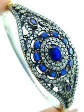 925 STERLING SILVER TURKISH HANDMADE JEWELRY SAPPHIRE BANGLE BRACELET 7.5 B2478