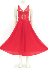 LOVELY Vintage OLGA Bright RED Nylon SPANDEX & Sheer Lace Nightgown 92150 S