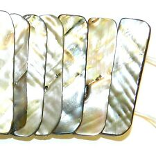 MP2636 Natural Iridescent 44mm Double-Drilled Tri-Tip Bar Mother of Pearl Beads