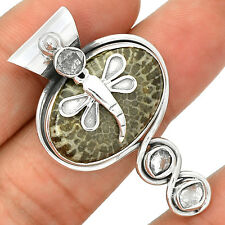 Dragonfly -  Stingray Coral  925 Sterling Silver Pendant Jewelry SP220580