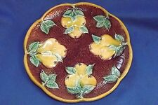 """ANTIQUE ENGLISH  MAJOLICA PEAR FRUIT PLATE 8 1/4"""" MINT # 2"""