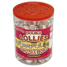 "DOUBLE LOLLIES SWIZZELS PEOPLE ""POWDER"" LOLLY POPS JAR – 120 PIECES – NEW"