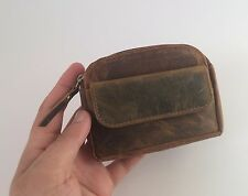 REAL Vintage Distressed Leather Coin Pouch Zip Around Coin Purse in Brown Unisex