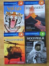Lot of 4 NEW Step Into Reading Step 4-5 Volcanoes/Choppers/Moonwalk/Wild Cats