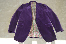 Etro Deep Purple Suede Velvet Blazer Dinner Blazer Jacket Men Size ITA 54L UK 44
