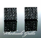 NEW! $59 Mens 14k BLACK GOLD GP SIMULATE BLACK Diamond iced out Hip Hop Earrings