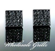 NEW! $59 Mens 14k BLACK GOLD GP SIMULATE BLACK Diamond iced out Hip Hop Earrings