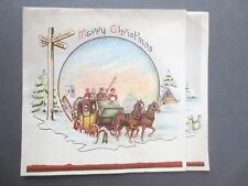 Vintage CHRISTMAS Card Regency Snowy Scene Coach & Horses Happiness & Joy 1950s