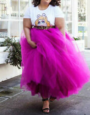 Plus Size Hot Pink 5 Layers Tulle Skirt Maxi Skirts Tutu Pleated SkirtA++3#