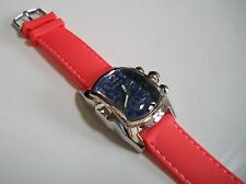 ELEGANT ORANGE SILICONE BAND/SILVER FINISH BLUE DIAL MEN'S FASHION WATCH